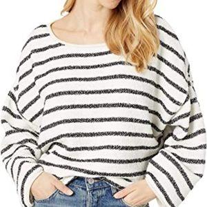 Free People Bardot Sweater Black White Stripe